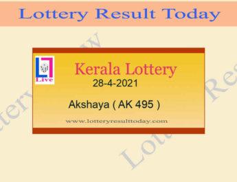 Akshaya AK 495 Lottery Result 28.4.2021 Today Live