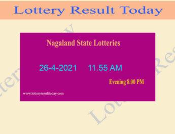 Nagaland State Lottery Sambad (11.55 AM) Result 26.4.2021 Liv