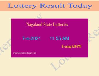 Nagaland State Lottery Sambad (11.55 AM) Result 7.4.2021 Live