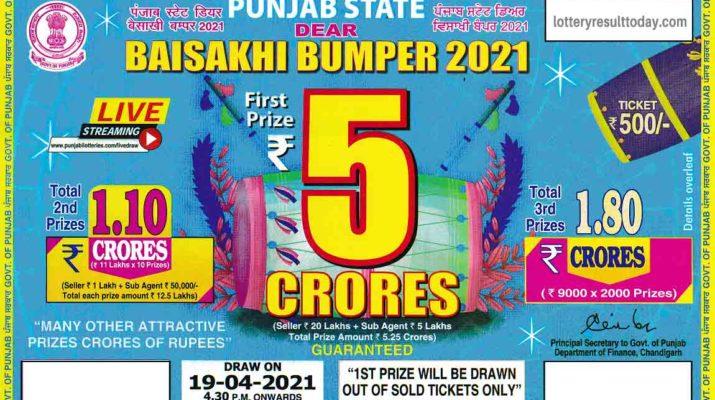Punjab Baisakhi Bumper Lottery Result 19.4.2021