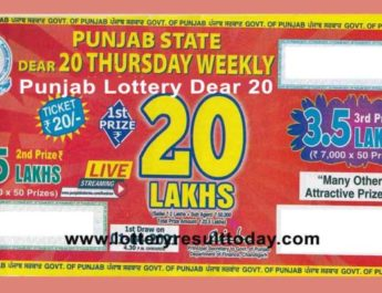 Punjab State Dear 20 Lottery Result 4.30 PM