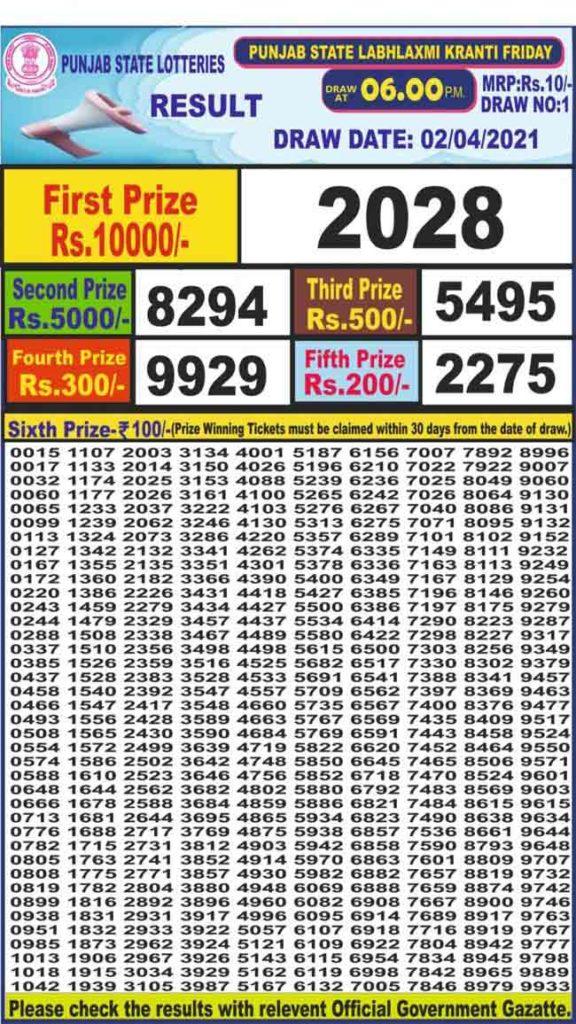 Punjab dear labhlaxmi result 6 pm 2.4.2021