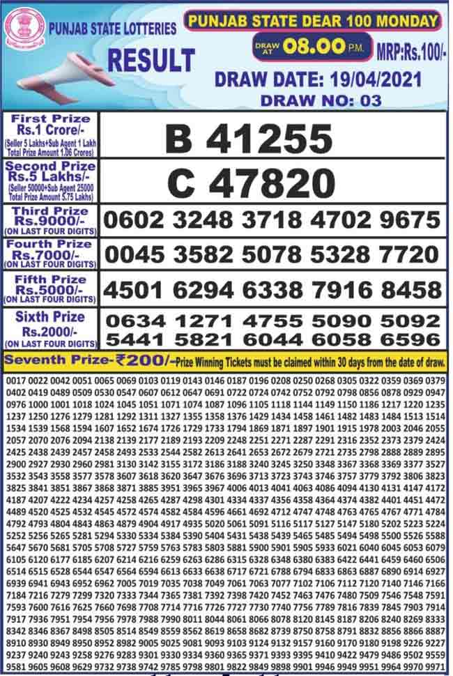 Punjab State Dear 100 Monday Lottery Result Today