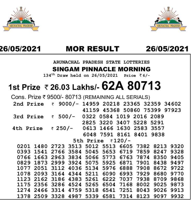 Arunachal singam morning result 26.5.2021