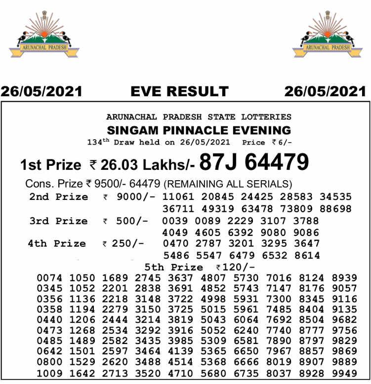 Arunachal Singam 7 PM Result 26.5.2021