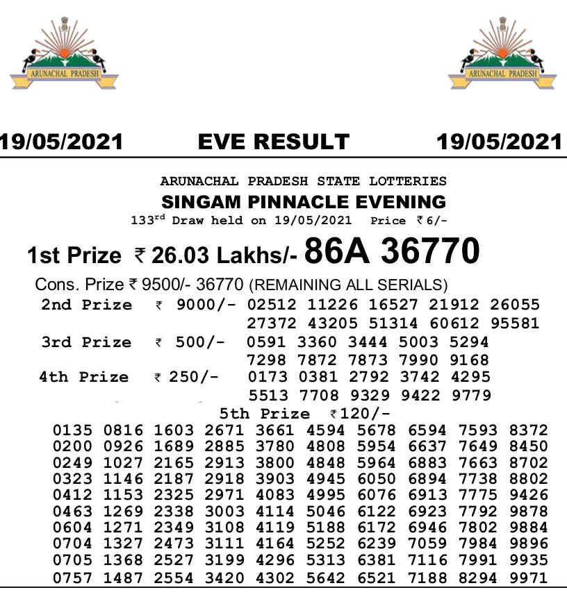 Arunachal Singam 7 PM Result 19.5.2021