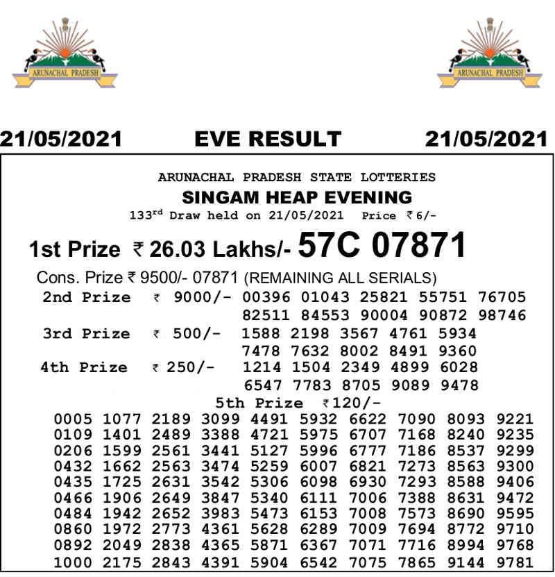 Arunachal Singam 7PM Result 21.5.2021