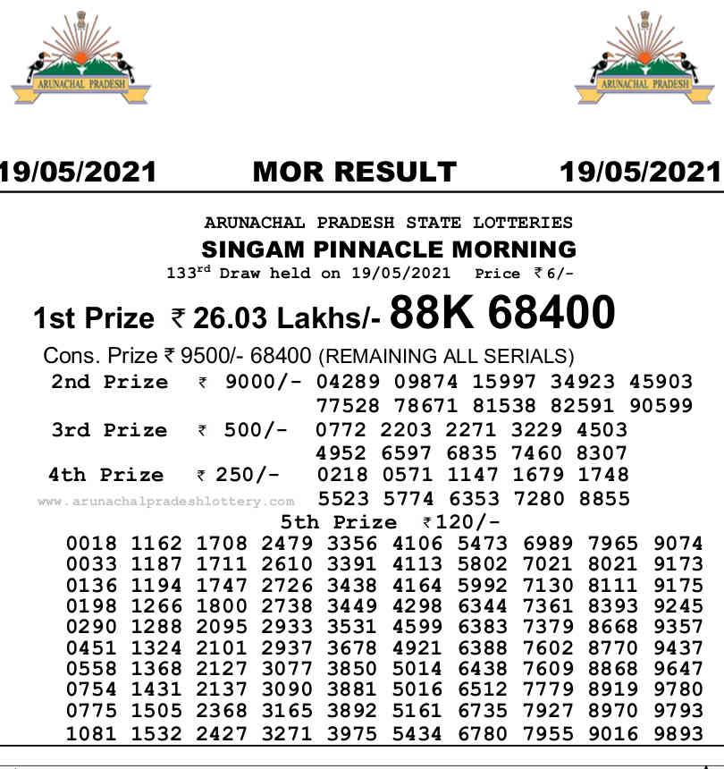 Arunachal Singam Morning Result 19.5.2021