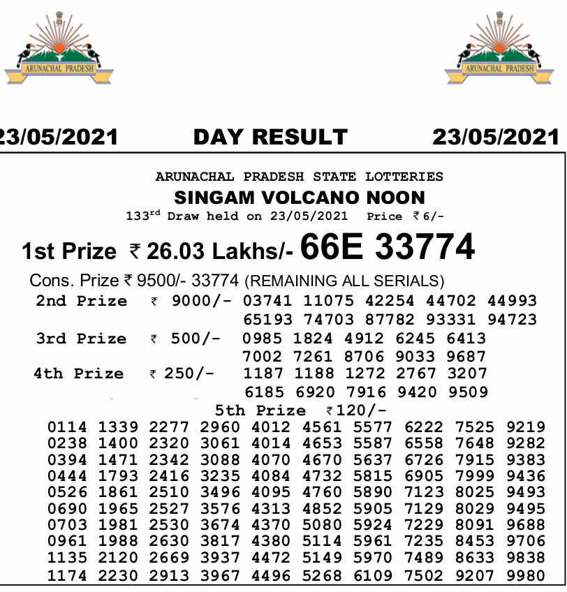 Arunachal Singam 3 PM Result 23.5.2021