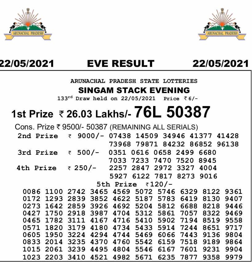 Arunachal Singam 7pm result 22.5.21