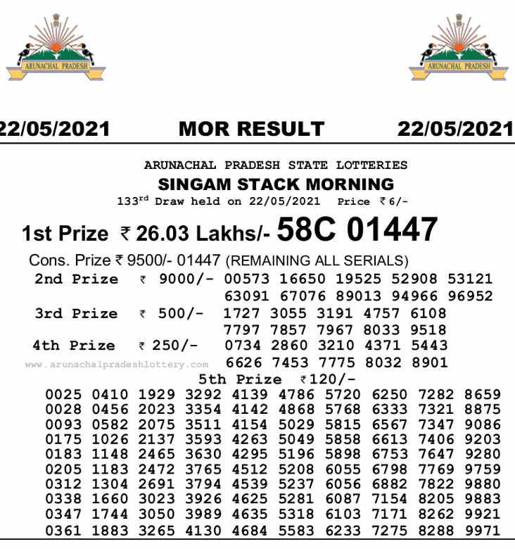 Arunachal Singam Morning Result 22.5.2021 - 10.55am