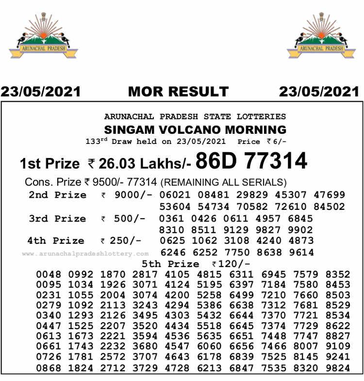 Arunachal Singam morning Result 23.5.2021
