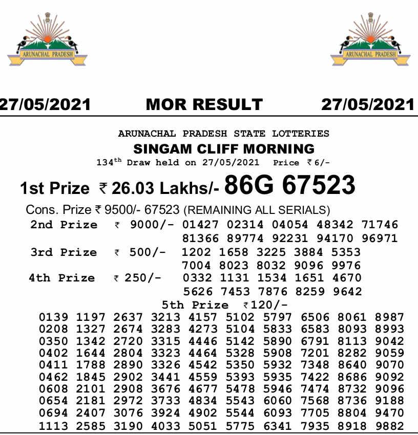 Arunachal singam morning result 27.5.2021