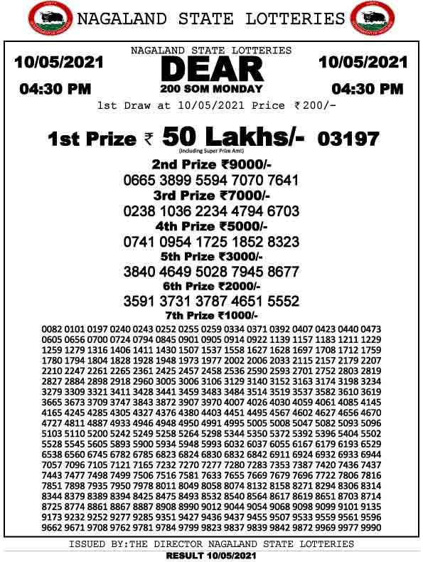 Nagaland Dear 200 Monday Lottery Result 4.30 PM