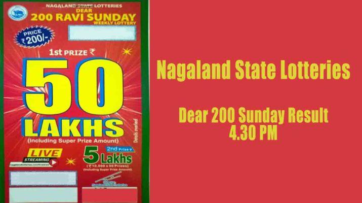 Nagaland dear 200 sunday lottery result 4.30 pm