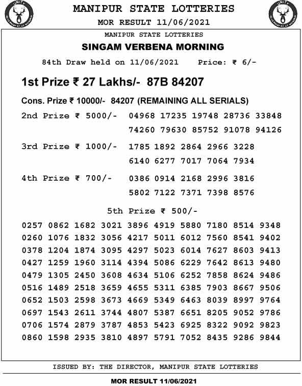 MAnipur Singam 11 am result 11.6.2021