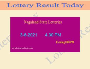 Nagaland Dear 200 Thursday Lottery Result 3-6-2021 (4.30 PM), Dear 200 Result,4:30pm