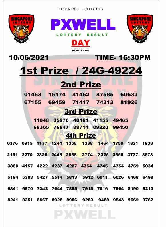 Singapore Pxwell day lottery result 16.30 pm