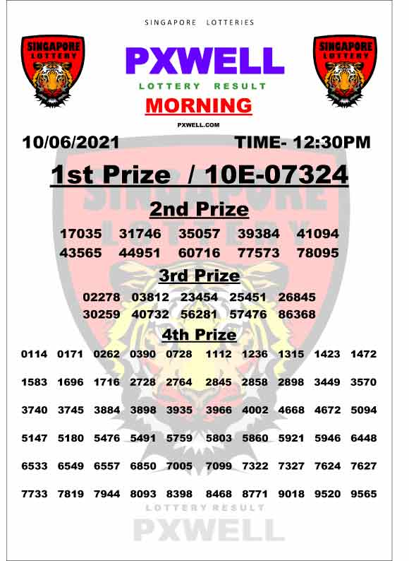PXWELL Lottery Result 12.30 PM - Singapore Lottery Result