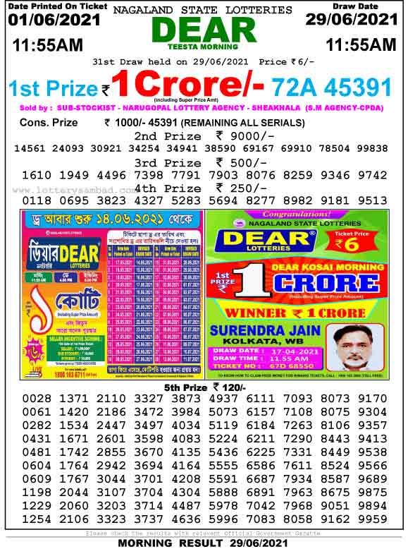 Lottery Sambad 11.55 AM Result 01.06.2021