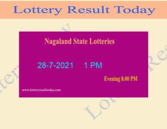 Nagaland Lottery Sambad 1 PM Result (28.7.2021) Live*, Dear 1PM, Morning
