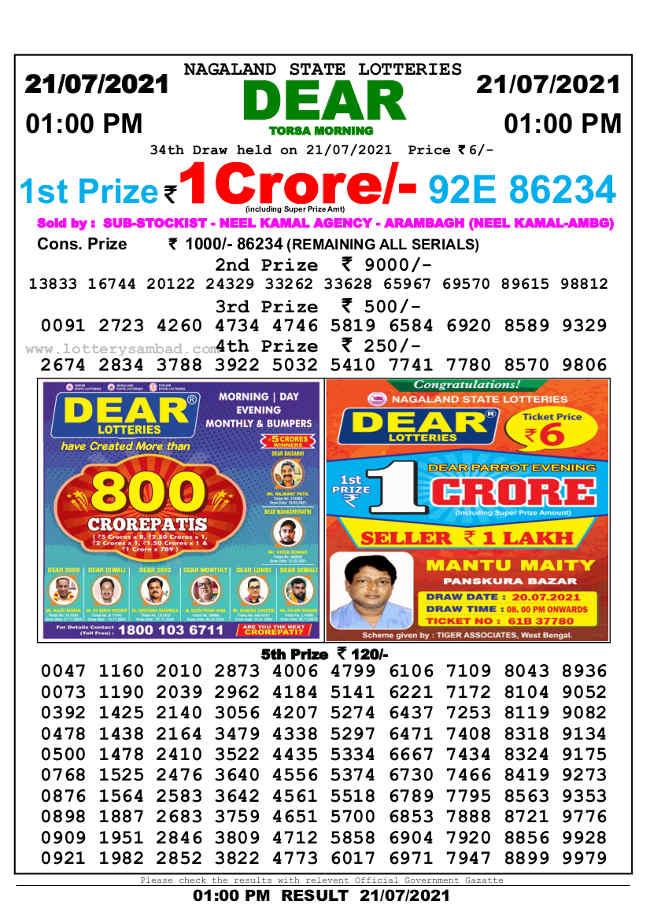 Nagaland Sambad 1 pm Lottery Result 21.7.2021
