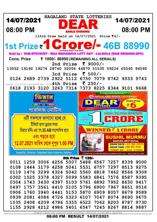 Nagaland Sambad Lottery 8pm result 14.7.2021