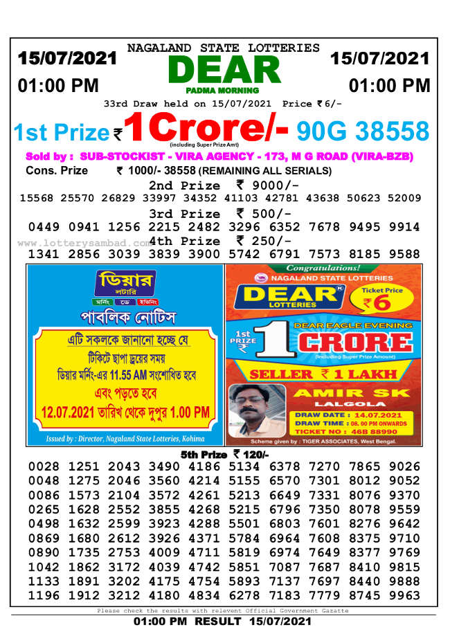 Sambad Lottery 1 PM Result 15.7.2021 - Nagaland State Lottery 1 PM Result