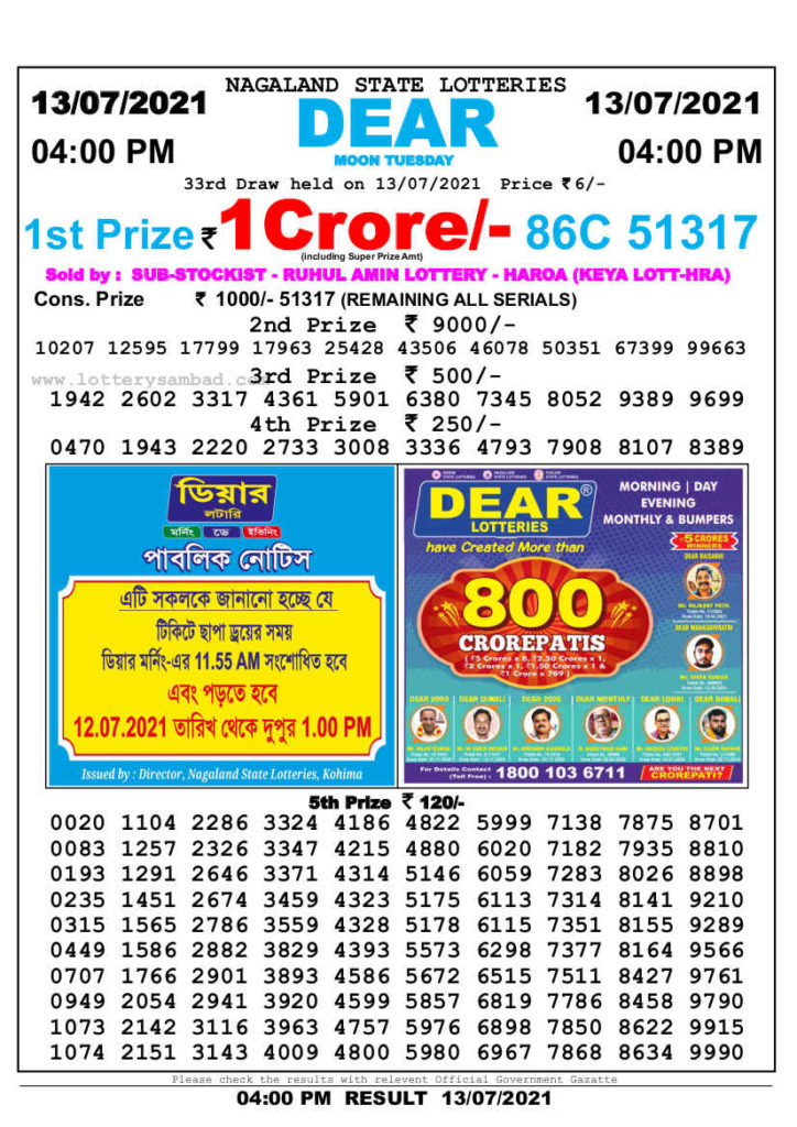 Lottery Sambad 4 PM Result 13.7.2021 - Nagaland State Lottery 4 PM Result