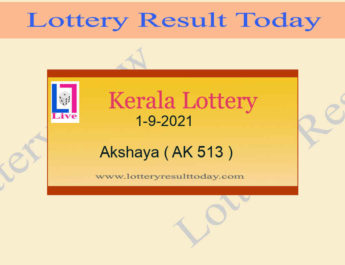 Akshaya AK 513 Lottery Result 1.9.2021 (Kerala Lottery Result)