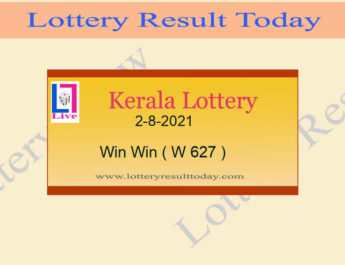Kerala Lottery Win Win W 627 Result 2.8.2021 Live at 3PM