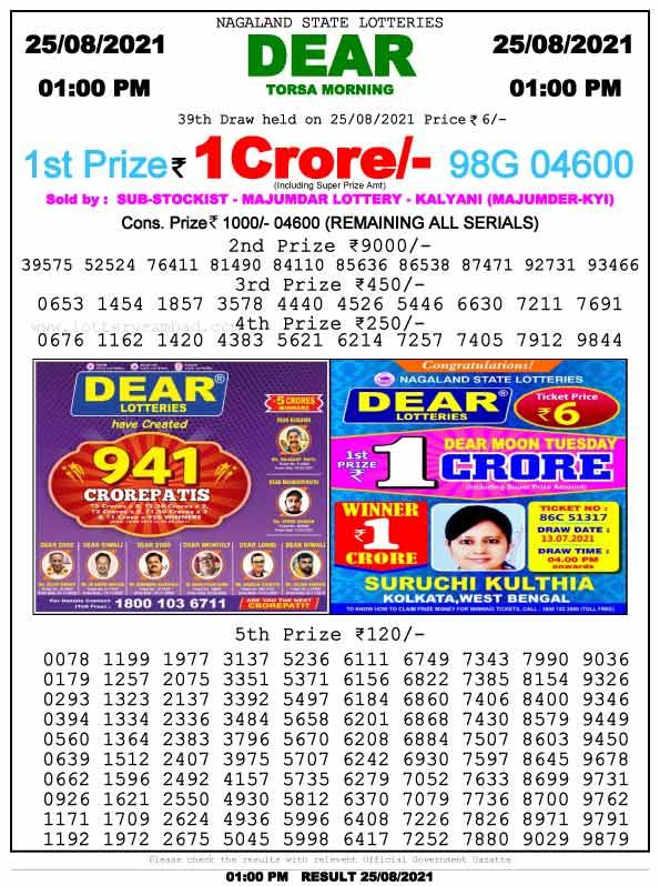 Lottery Sambad1pm Result 25.8.2021