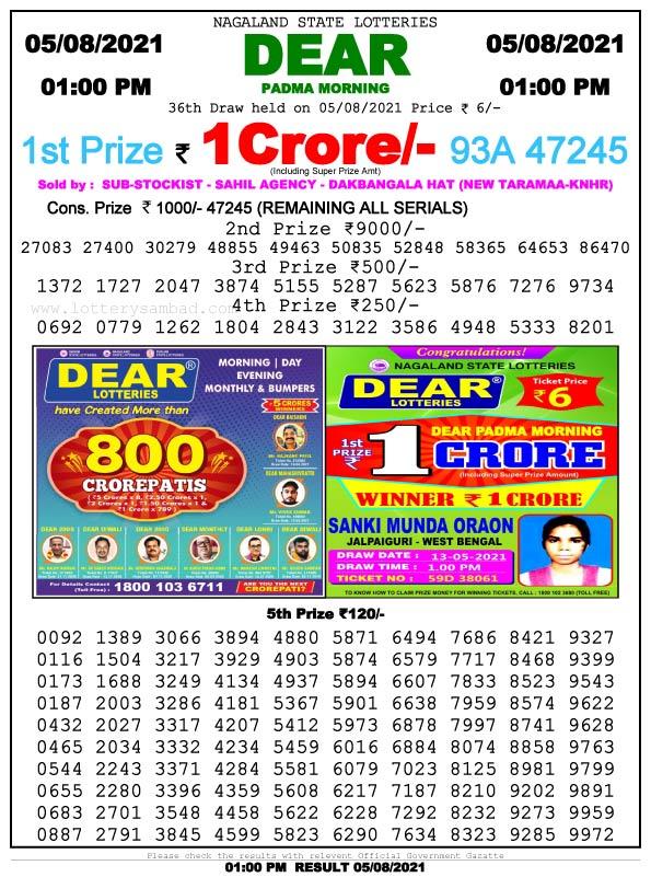 Lottery Sambad 1 pm Result 5.8.2021