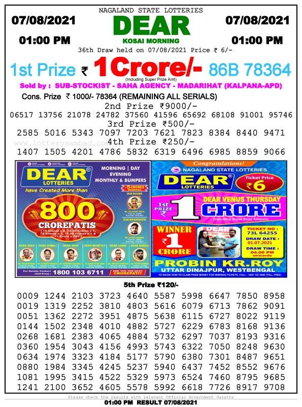 Lottery Sambad 1pm Result 7.8.2021