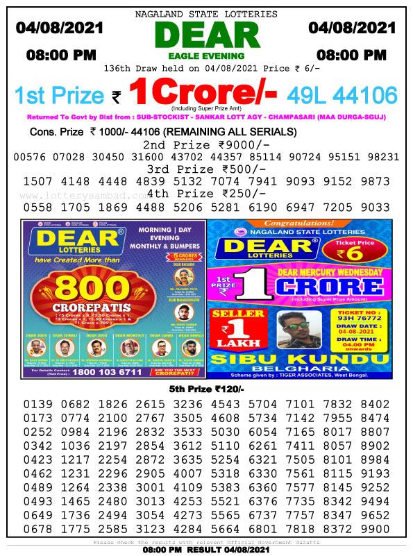 Lottery Sambad 8 pm Result 4.8.2021