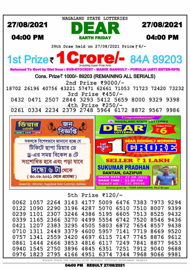 Lottery Sambad 4 PM result 27.8.2021