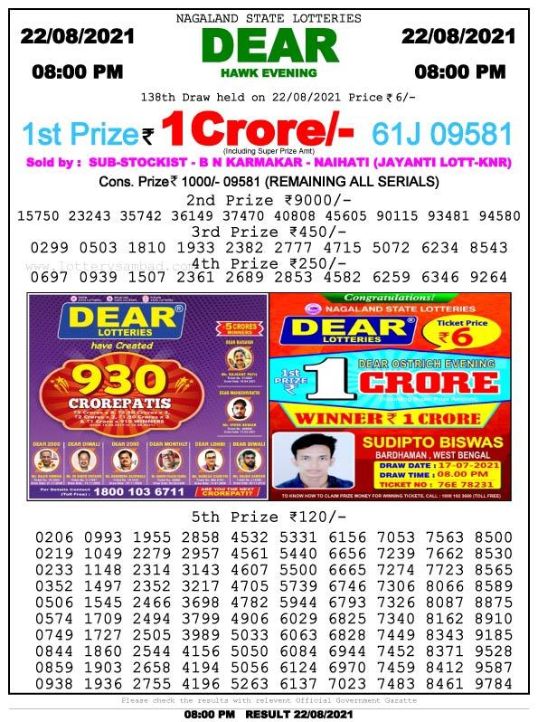 Sambad 8 PM Lottery Result 22.8.2021