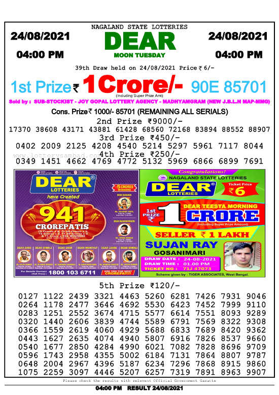 Sambad 4 PM Lottery Result 24.8.2021