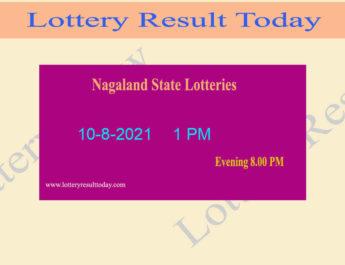 Nagaland Lottery Sambad 1 PM Result (10.8.2021) Live Result*, Dear 1PM, Morning