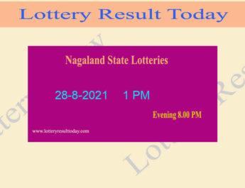 Nagaland Lottery Sambad 1 PM Result (28.8.2021) Live Result*, Dear 1PM, Morning