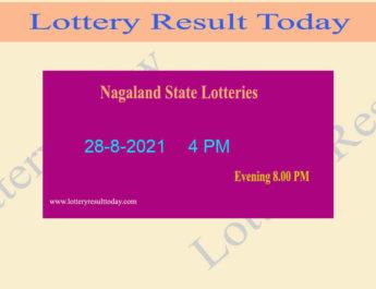 Nagaland Lottery Sambad 4 PM Result 28.8.2021 (Live Sambad Result), 4pm, Day