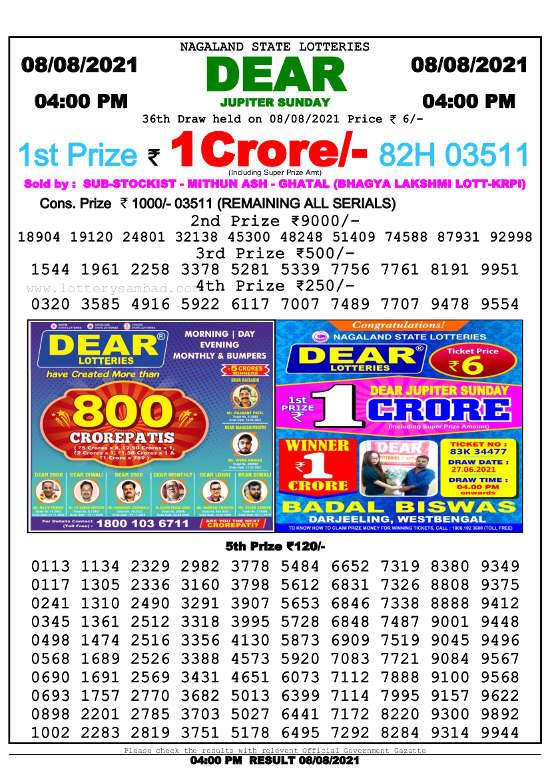 Lottery Sambad 4pm result 8.8.2021