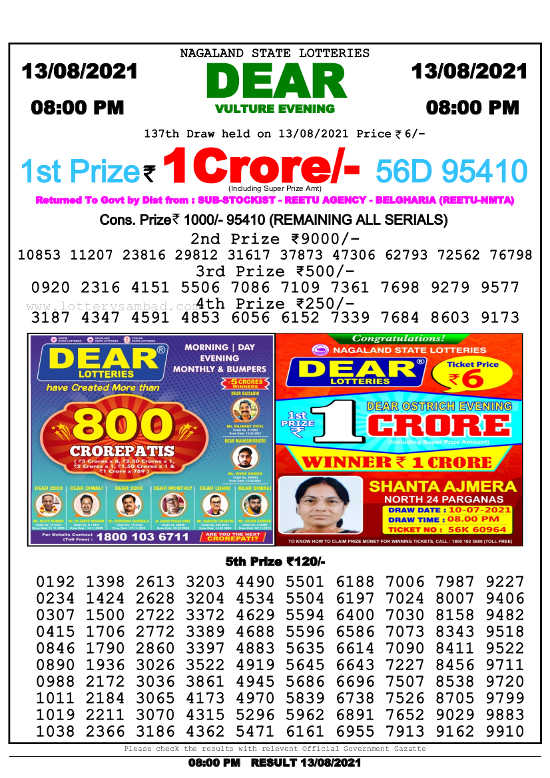 Nagaland State Lottery 8 PM result 13.8.2021
