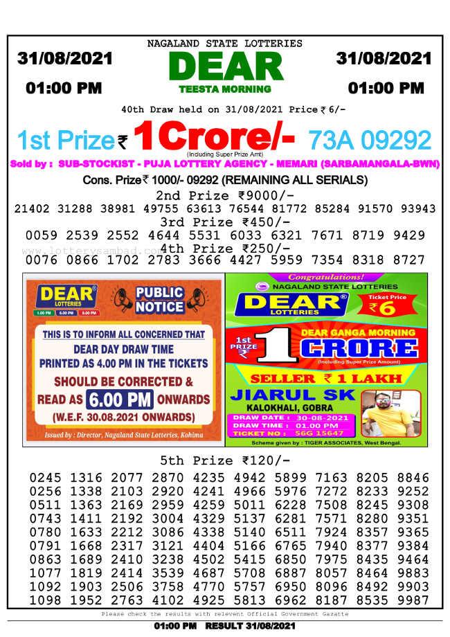 Lottery Sambad 1 pm result 31.8.2021