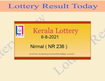 Nirmal NR 236 Lottery Result 6.8.2021 *Live Kerala Lottery Result