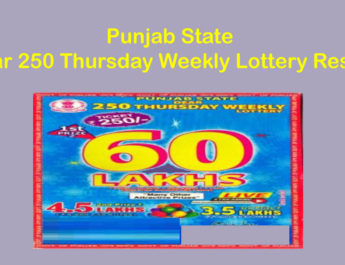 Punjab Dear 250 Thursday Weekly Lottery Result Today 8 PM