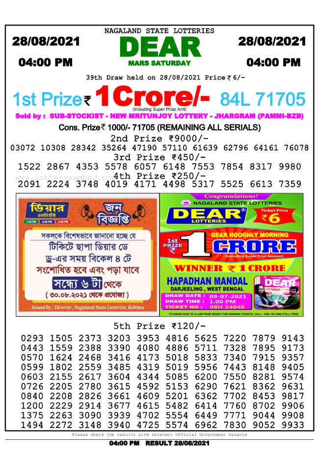Sambad 4 pm lottery result 28.8.2021