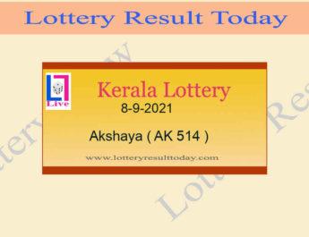 Akshaya AK 514 Lottery Result 8.9.2021 (Kerala Lottery Result)