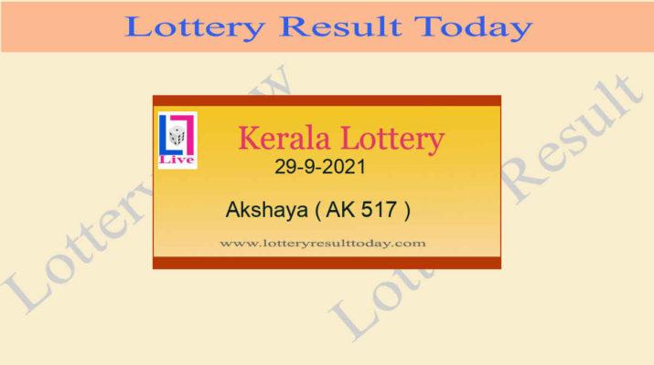 Akshaya AK 517 Lottery Result 29.9.2021 (Kerala Lottery Result)