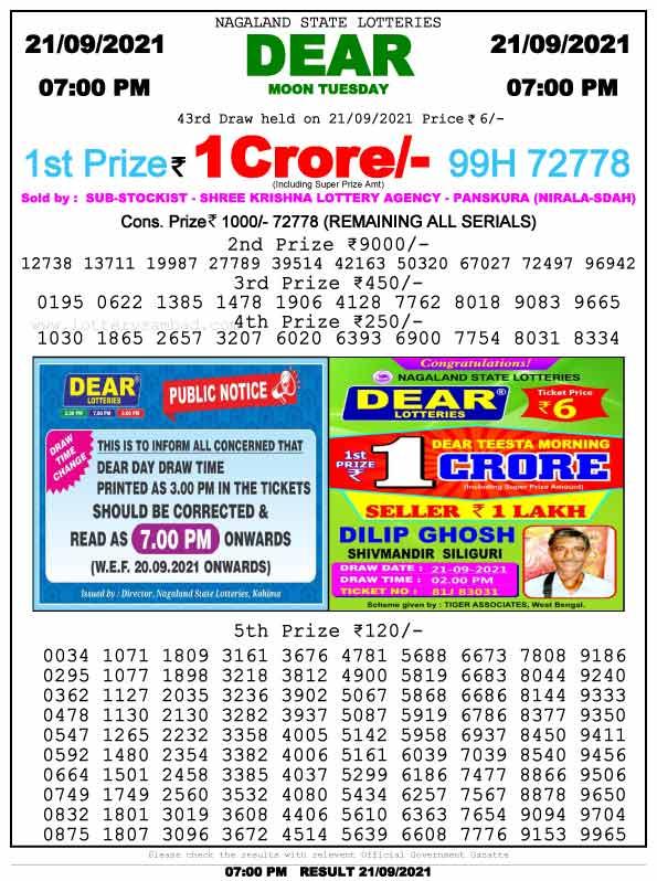 Lottery Sambad 7pm result 21.9.2021